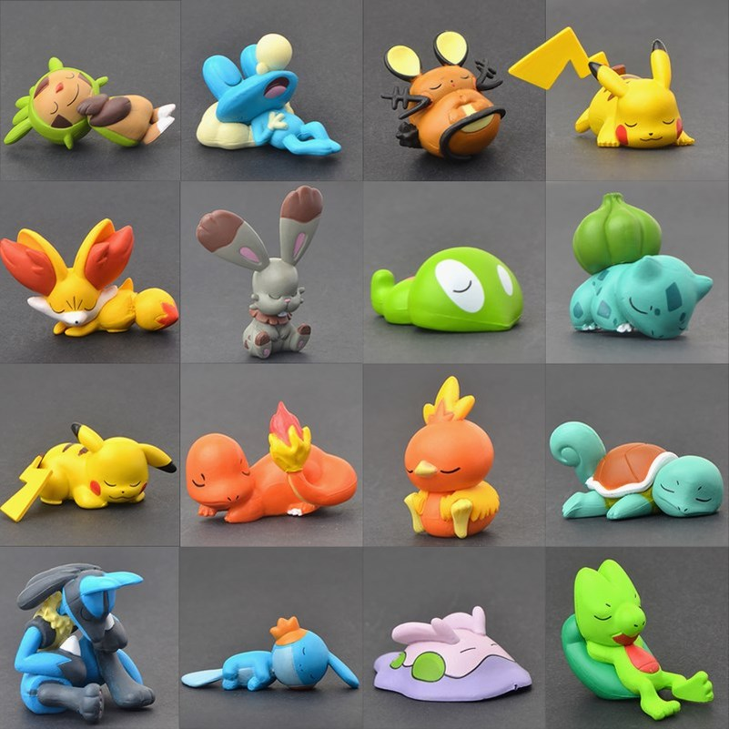 TAKARA TOMY Pokemon Sleeping Series Pikachu Squirtle Charmander Bulbasaur Action Figure Collectible Gifts Toys for Kids