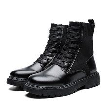 2019Men Shoes Mens Winter Snow Boots Martins Man Leather Shoe Ankle Bot Cowboy Waterproof Motorcycle Casual Coturno Botas Hombre(China)