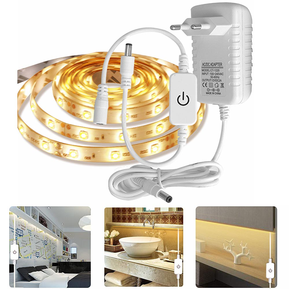 Dimmable Flexiable LED Light Strip Touch Switch 12V Power For Kicthen/Closet/Cupboard/Wardrobe Under Cabinet Light LED  Lighting