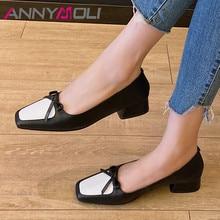 ANNYMOLI Woman Shoes Real Leather Med Heels Female Pumps Bow Block Heel Pumps Dress Square Toe Footwear Ladies Black Big Size 43 pu square toe block heel slingback pumps