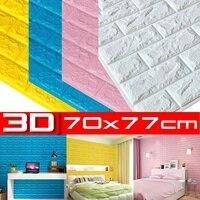 3D Brick Wall Stickers Living Waterproof Foam Room Bedroom DIY Adhesive Wallpaper Art 70*77CM 5MM home Wall Decals