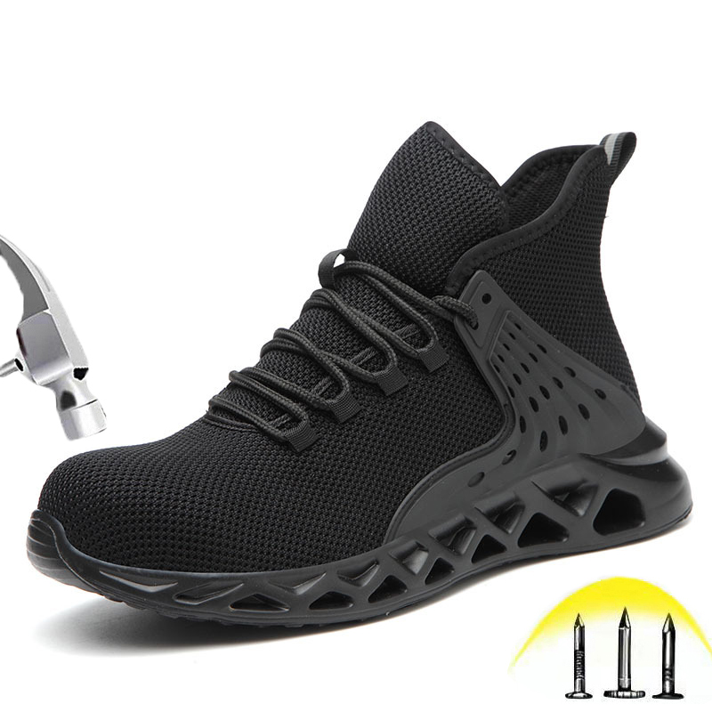 Mens Safety shoes Waterproof Breathable SRA Non-slip EVA Light Protection Shoes Steel Toe Cap Puncture Proof Work Shoes 38-48 image