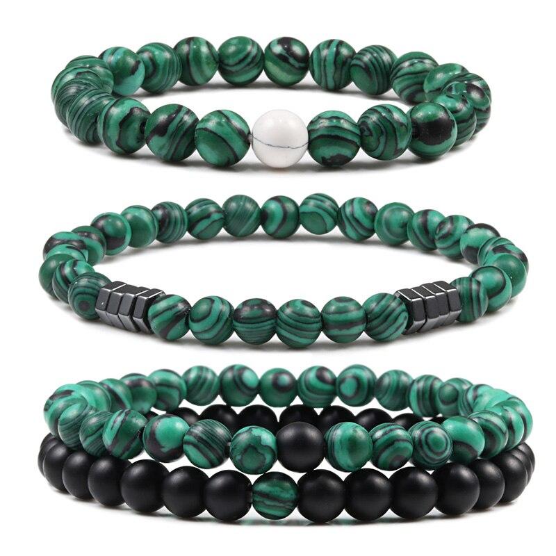 2Pcs/Set Natural Stone Couples Bracelet Classic Malachite Beaded Bracelets For Lover Men Fashion Jewelry Accessories Dropshippin
