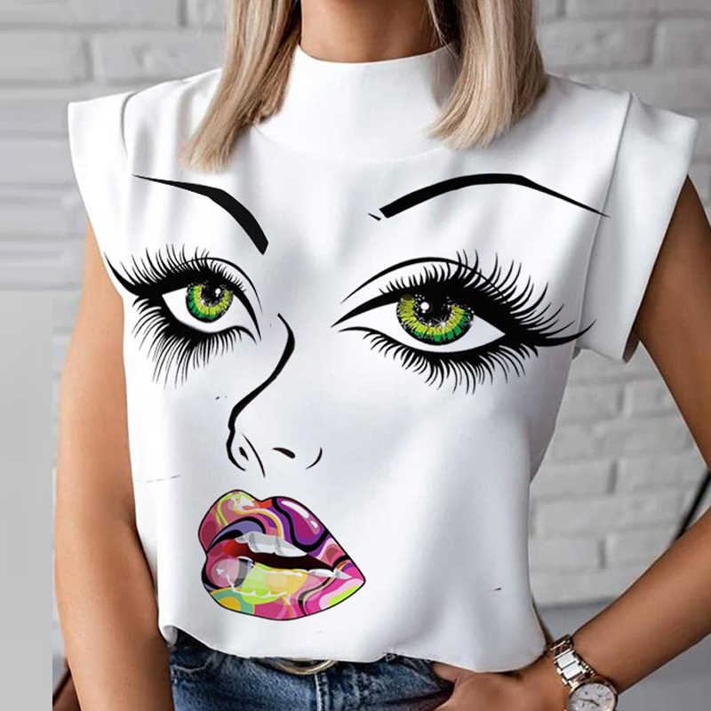 Lèvres imprimer femmes Blouse chemise 2020 été décontracté col montant pull élégant haut pour femme dames mode Blouse à manches courtes Blusa