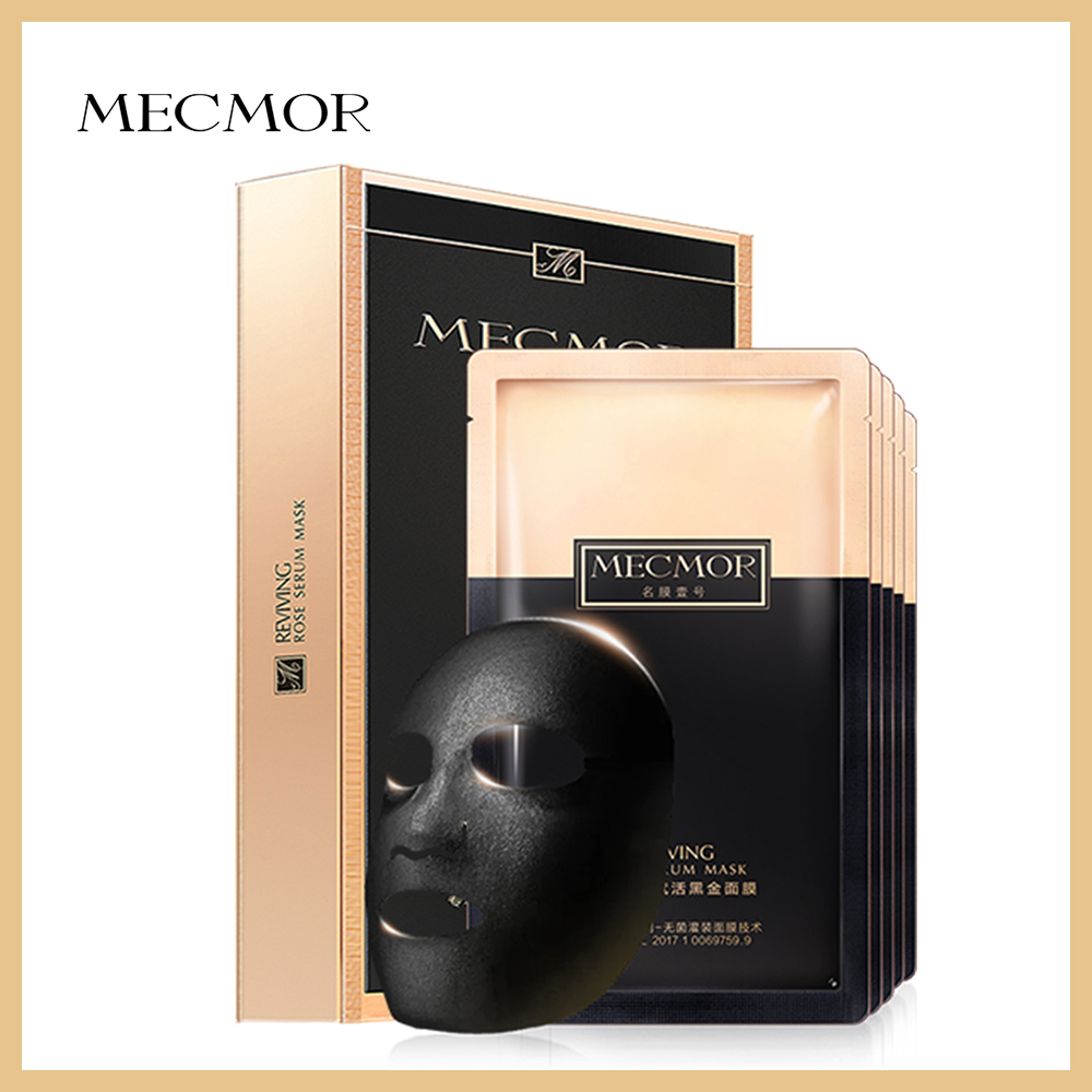 MECMOR Additive Free Reviving Rose Serum Facial Mask 5pc/set Pregnant Woman Usable Drinkable Black Gold Face Mask Paper