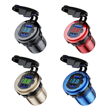 USB Charger Dual QC3.0 Quick Charge Cigarett Socket Adapter Power Outlet with Voltmeter + Switch for 12V-24V Car Boat Motorcycle