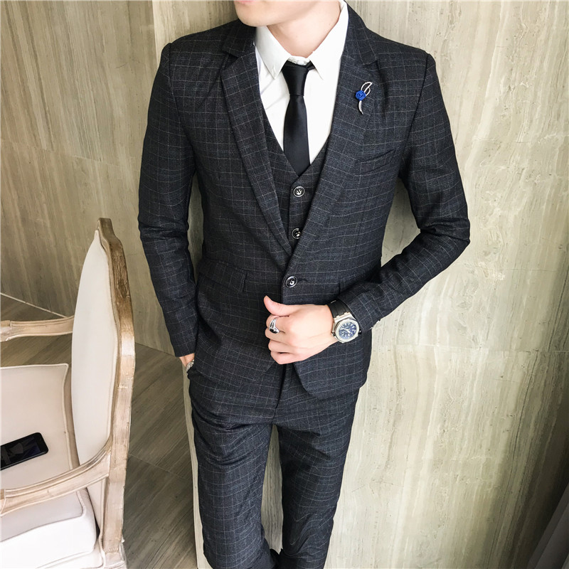 Business Casual 2020 Mens.Us 66 8 20 Off 2020 New Men S Fashion Boutique Plaid Wedding Dress Suitpiece Male Formal Business Casual Suits Three Jacket Vest Pants On