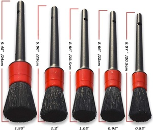 Image 2 - 10Pcs Car Detailing Brush Kit Soft Natural Boar Hair For Auto Cleaning Exterior Interior Wire Brushes And Air Vents Cleaner Tool