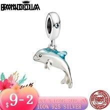 Новое популярное ожерелье из серебра 925 пробы с мерцающим дельфином