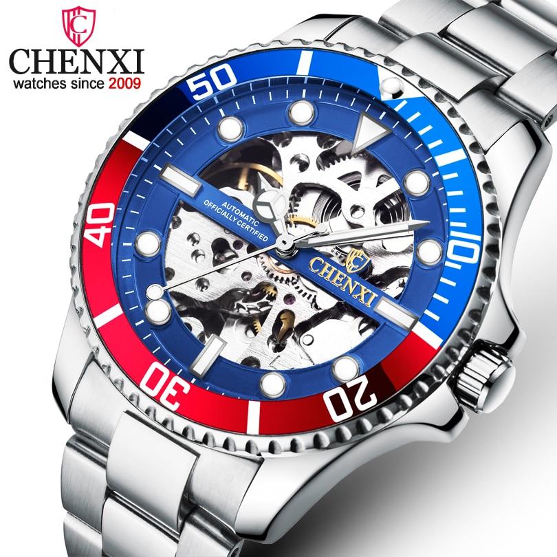 CHENXI Brand Luxury Classic Blue Men Watches Automatic Mechanical Wristwatch Male Waterproof Stainless Steel Watch Man Gift