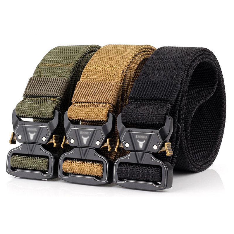 Military Tactics 3.8 Quick Release Buckle Outdoor Safety Outer Belt Quick-drying Pure Nylon Pants Belt Training Zinc Alloy Belt