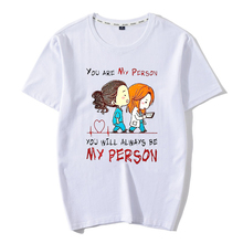 Cartoon Greys Anatomy T-shirt Men/Women Youre My Person Letter T Shirt 90s Harajuku Ullzang Fashion Unisex Tops Tee Female