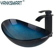 YANKSMART US Ванная раковина умывальник из закаленного стекла ручная роспись Черный Масло потертый водопад раковина кран латунный набор смеситель набор