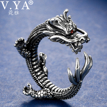 V.YA Super Cool Thai Silver Dragon Rings Rock Style Solid 925 Sterling Silver Thumb Ring Men Jewelry Wholesale