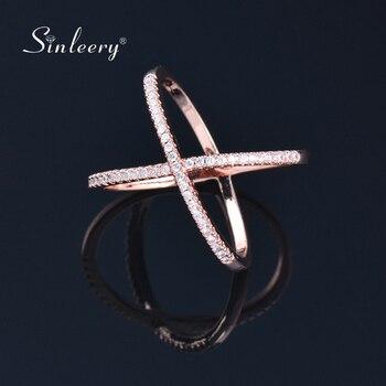 SINLEERY à la mode X forme croix anneaux de mariage Rose jaune or argent couleur Micro pavé cristal anneaux pour femmes bijoux JZ008