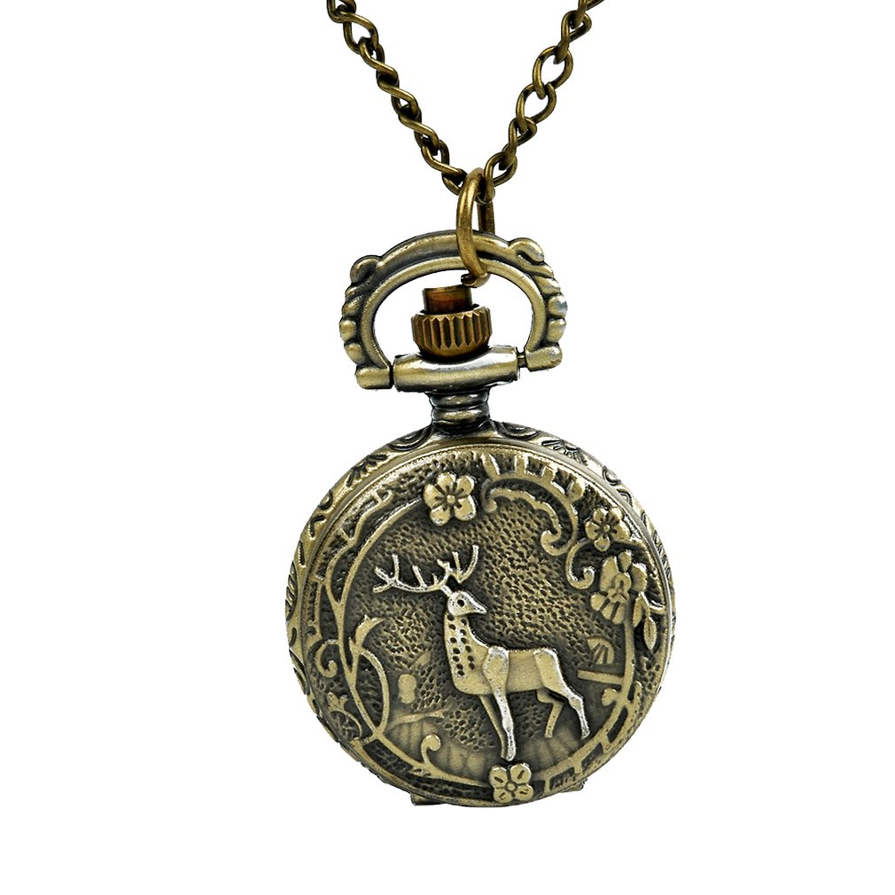 Bronze Flower Deer Retro Pocket Watch Classic Design Men'S Women'S Fashion Quartz Pocket Watch Creative Gift