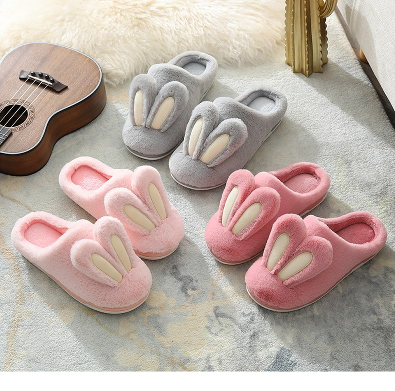 H352bbd457b124a0ab594172ae81d5adbo Pantufa Mulheres chinelos de pelúcia inverno quente peludo bonito orelhas de coelho sola macia apartamentos homens mulher casais casa interior quarto senhoras sapatos