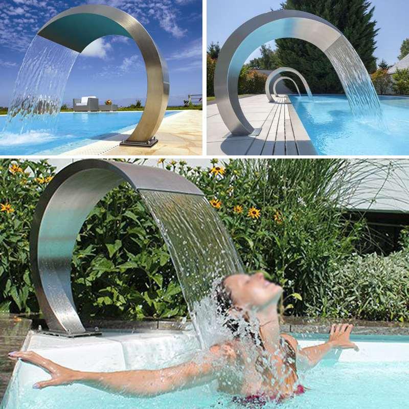 Meigar 20cm X 40cm Edelstahl Pool Accent Brunnen Teich Garten Schwimmbad Wasserfall Feature Dekorative Hardware Wasserhahn
