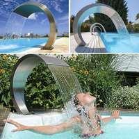 Meigar 20cmX40cm حمام سباحة من الفولاذ المقاوم للصدأ لهجة نافورة بركة حديقة حمام سباحة شلال ميزة الأجهزة الزخرفية صنبور