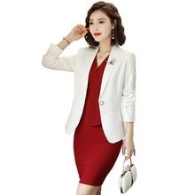 2019 White suit + dress two-piece skirt woman office  women dresses spring set