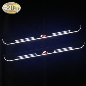 Customized 4PCS Moving LED Welcome Pedal Car Scuff Plate Pedal Threshold Door Sill Pathway Light For SEAT LEON ARONA ATECA FR(China)