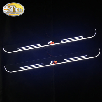 Customized 4PCS Moving LED Welcome Pedal Car Scuff Plate Pedal Threshold Door Sill Pathway Light For SEAT LEON ARONA ATECA FR led door sill for honda accord ii ac ad 1983 1985 door scuff plate entry guard threshold welcome light car accessories