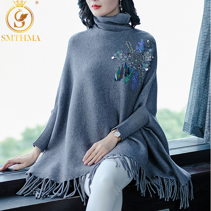 High Quality Runway Women Sequin Cloak Pullover Autumn And WinterLady High Collar Bat Sleeves Tassel Poncho Christmas Sweater