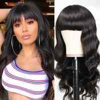 Remy de la onda del cuerpo peruano peluca flequillo de cabello humano Bob corto pelucas de cabello humano con flequillo de arándano pelucas de pelo de la peluca de máquina