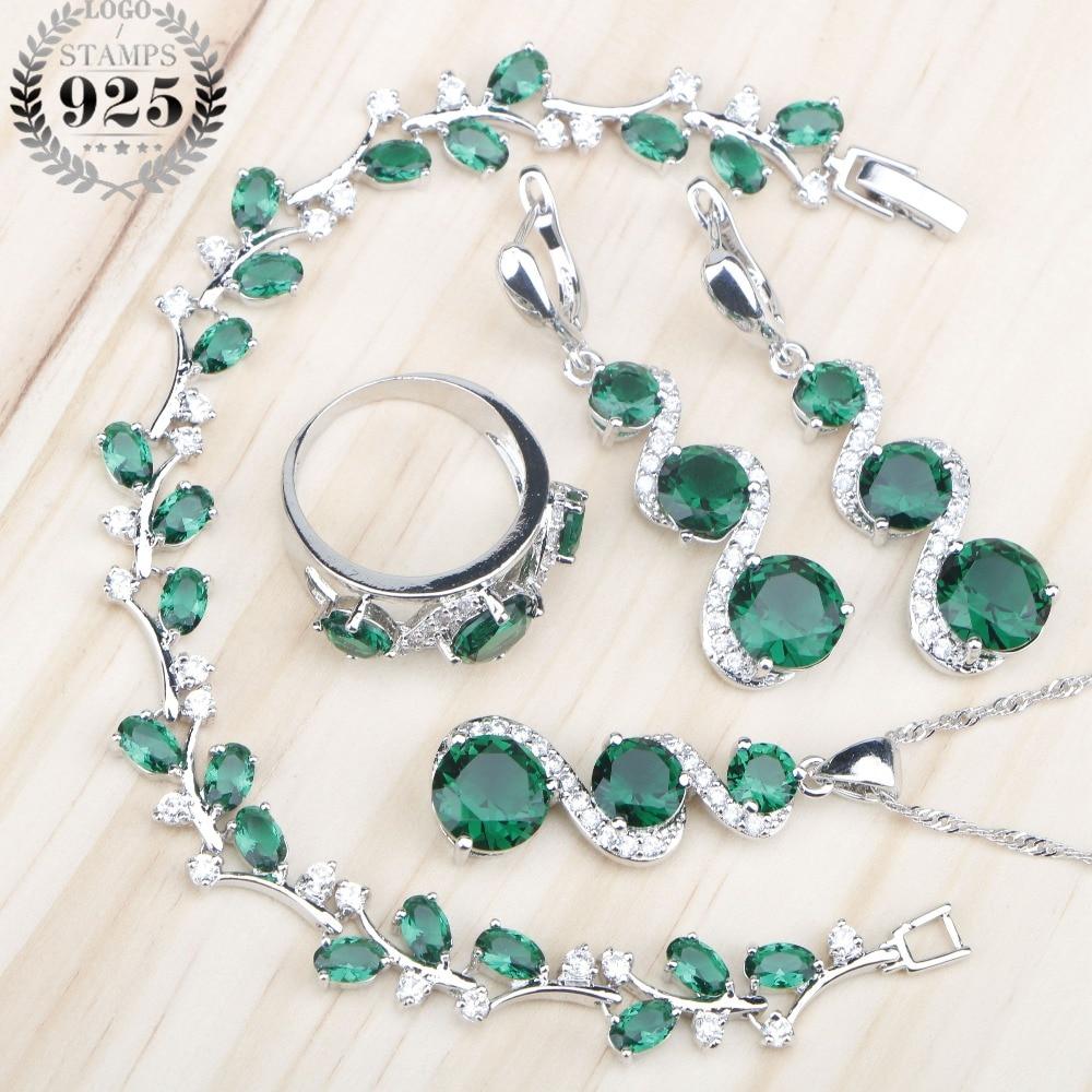 Зеленые камни, белый циркон, женские серебряные Ювелирные наборы 925 пробы, серьги/кулон/ожерелье/кольца/браслеты для невесты, набор, бесплатная коробка
