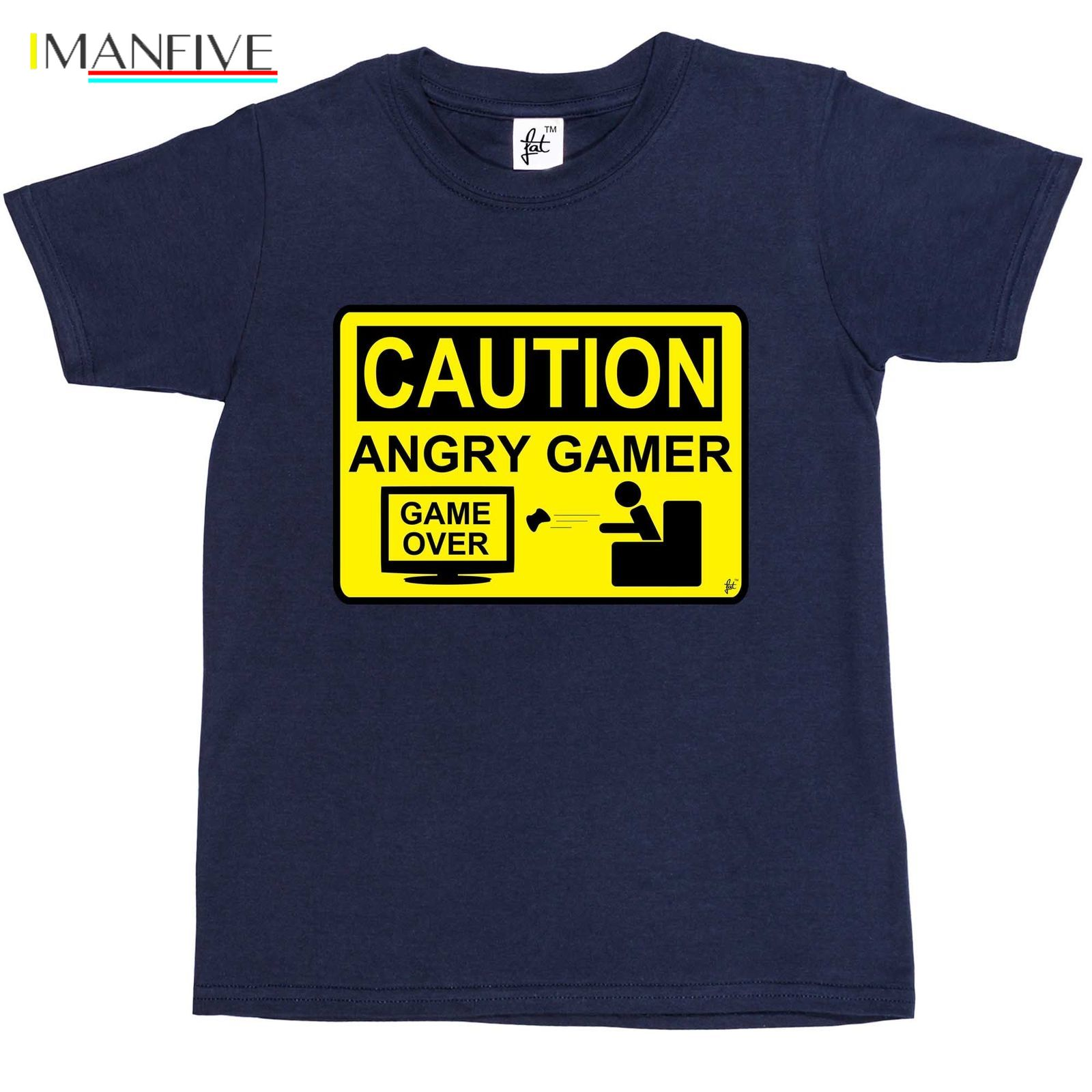 Caution Angry Gamer - Warning Sign Game Over Lost Kids Boys T-Shirt  Free shipping Tops t shirt Fashion Classic Unique