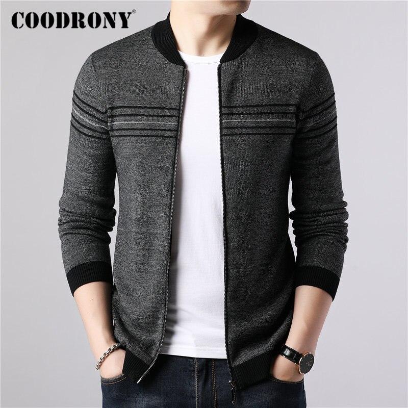 COODRONY Brand Sweater Coat Men Casual Striped Cashmere Wool Cardigan Men 2019 New Arrival Autumn Winter Warm Zipper Coats 91087