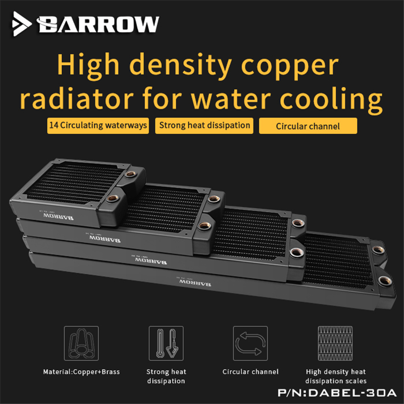 Barrow Dabel-30a Series 360 Copper Water Cooling Radiator Single-wave 14 Waterways (Thick:30MM)