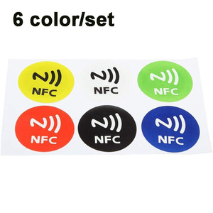 NFC Sticker Tags Mini Small NTAG213 Label ISO14443A 13.56MHz RFID Key Tag Card Diameter 30mm PET Adhesive Badges 6 Color/Set