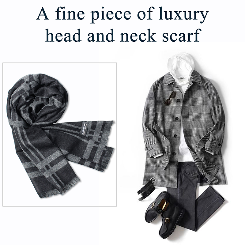 HAWSON Men's Scarves Soft & Luxurious Winter Neck Warmer Travel Head Wraps, Men's Fashion, Beautiful Gift for Men