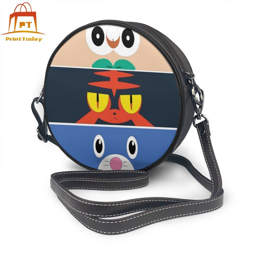 Pokemon Sun And Moon Shoulder Bag Pokemon Sun And Moon Starters Leather Bag Pattern Mini Women Bags Womens Crossbody Round Purse image
