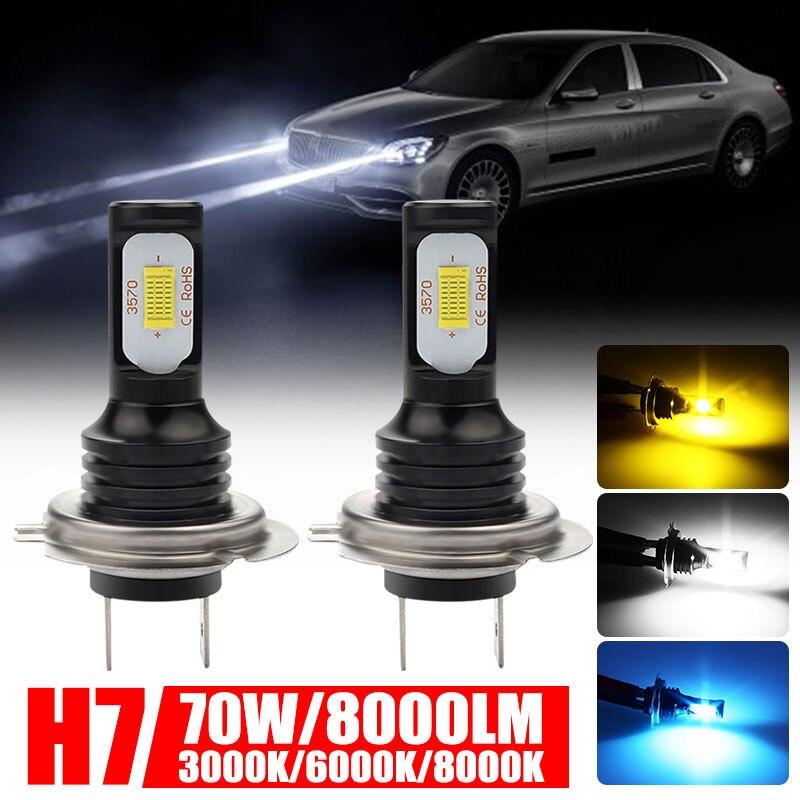 3000K/6000K/8000K H7 LED Fog Light High Low Beam Car Led Headlight Bulbs Front Lamp 72W Waterproof