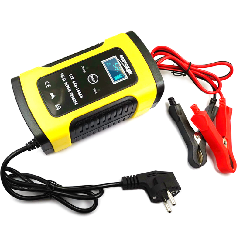 Full Automatic Motorcycle Car Battery Charger 12V 6A Intelligent Fast Power Charging Lead Acid Battery Digital LCD Display title=