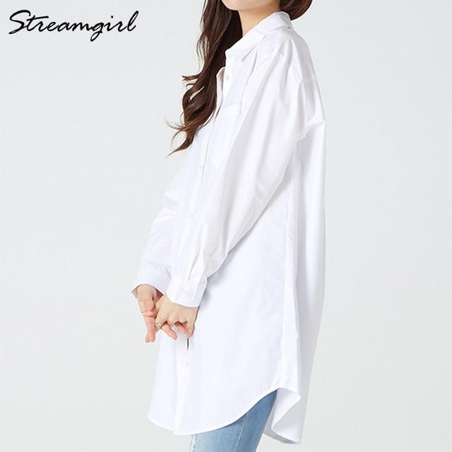 White Blouse Shirts Women Cotton Tunics Plus Size Long Tops White Button Shirt Feminine Blouses Spring Oversize Shirts Blouses 2