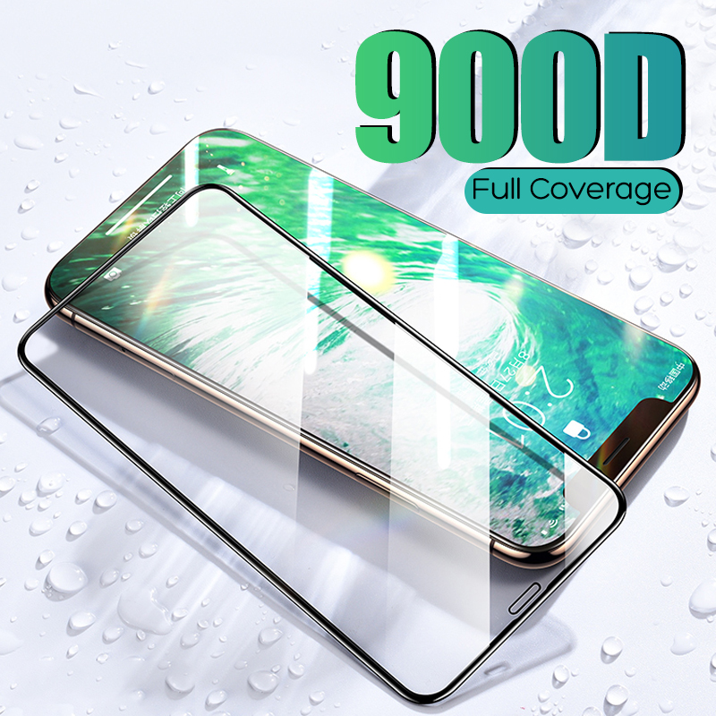 900D Full Cover Tempered Protective Glass on The For iPhone 11 Pro Max Screen Protector For iPhone 7 8 6 6s Plus XS Max XR Glass|Phone Screen Protectors| |  - title=