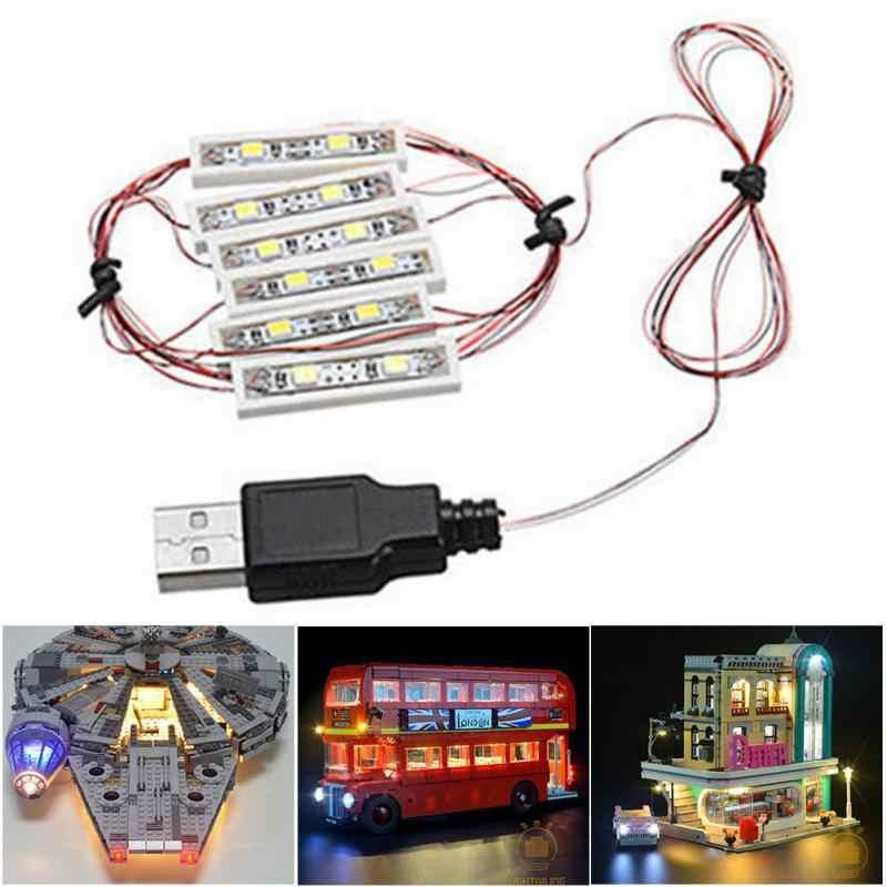 Uniwersalny 6 kolor DIY oświetlenie LED cegła zestaw do Lego MOC zabawki cegły Bar-typ lampa stołowa z USB Port zabawki ozdobne oświetlenie LED