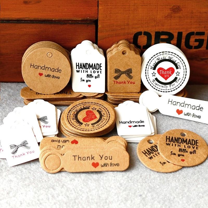 100pcs//lot Kraft Paper Packaging Hang Tags Thank You DIY Party Gift Tag Labels