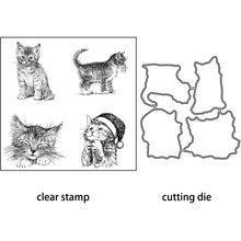 Azsg милые рождественские резные штампы для кошек прозрачные