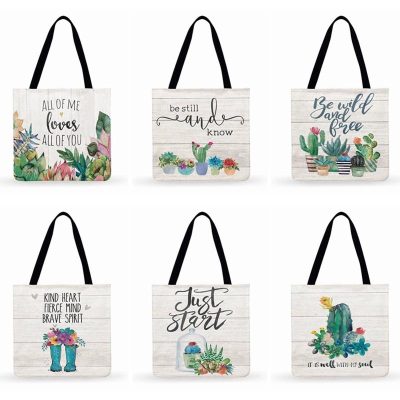 Fresh Green Plants Succulents Cactus Printed Tote Bag For Women Casual Tote Fashion Shopping Bag Beach Bags Ladies Shoulder Bag