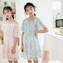 цена на Teen Girls Summer Dresses 2020 New Fashion Girls Dresses Size 12 14 10 8 6 Years Pink Blue Baby Princess Dress For Girls Kids