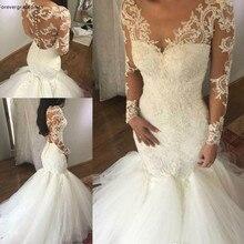 Vestido de novia Vintage de sirena de manga larga con Apliques de encaje jardín iglesia de campo novia vestido de novia talla grande