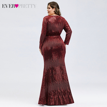 Luxury Prom Dresses Plus Size Ever Pretty Full Sleeve Deep Mermaid V-Neck Sequined Sexy Autumn Winter Party Gowns Gala Jurk 2020 2