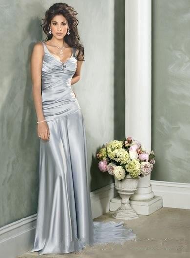2018 Sexy Silver Satin V Neck Bodice Vestido De Festa Formal Back Bare Long Dinner New Robe De Soiree Bridesmaid Dresses