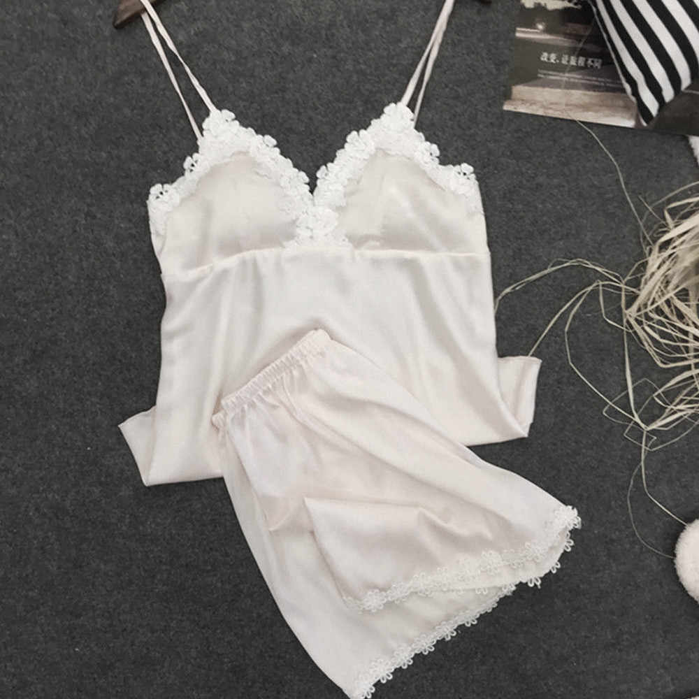 Women Sleepwear set Sexy Lace Nightwear  Babydoll Set Water soluble flower lace suit pajamas пижама женская high quality 04*