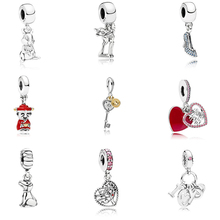 New Colletion 100% 925 Sterling Silver I love you Dangle charms Fit Pandora Bracelet Beads For Jewerly Making Gift
