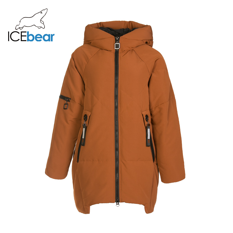 ICEbear 2019 New Winter Long Women's Down Coat Fashion Warm Ladies Jacket Hooded Brand Ladies Clothing GN218328P